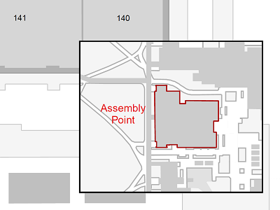 Assembly point map for evacuation
