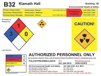 Laboratory door hazard sign