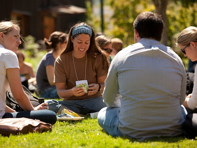 Students talking in quad